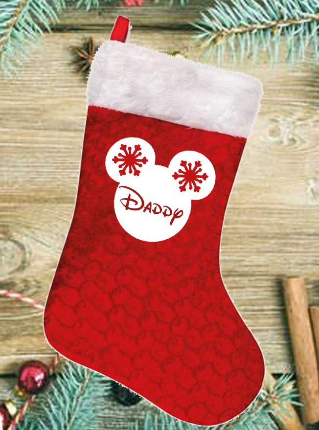 Personalised Mickey Silhouette with Snowflakes Red Stocking