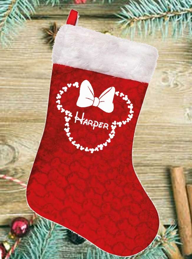 Personalised Minnie Head Shape Outline Red Stocking