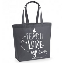 Teach Love Inspire - Charcoal Grey Cotton Tote Bag