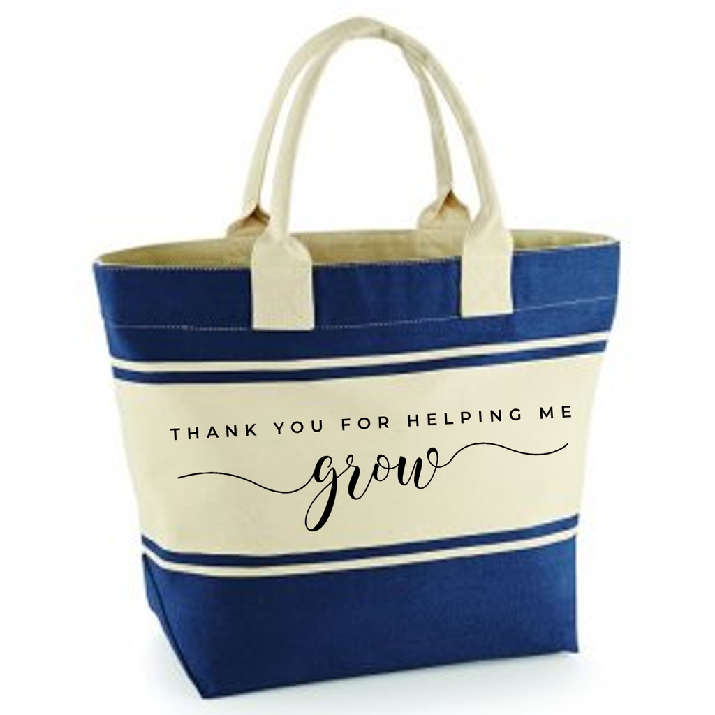Thank you for helping me grow - Navy/Cream Canvas Deck Bag