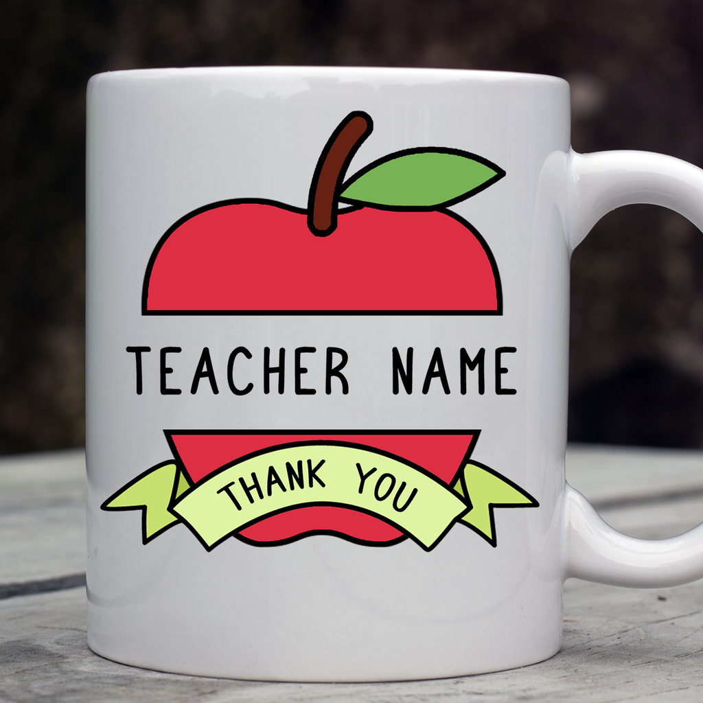 Personalised Thank You teacher - apple graphic Mug