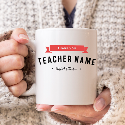 Thank you Teacher - personalised Mug. With added subject - perfect for Secondary School Pupils