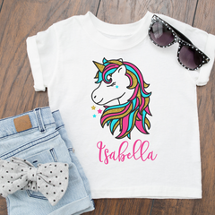 Personalised Girly Glitter Unicorn T-Shirt Top baby, toddler and kids sizes! #summerready