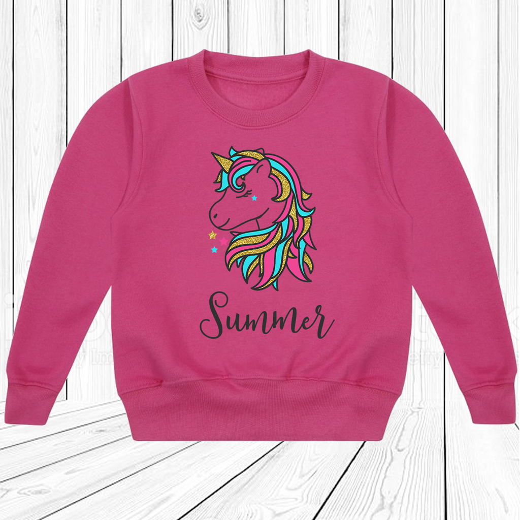 Personalised Girly Glitter Unicorn Fuchsia Pink Sweatshirt Set baby, toddler and kids sizes!