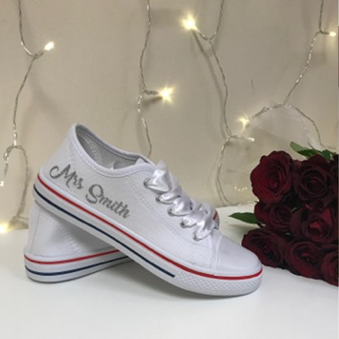 Personalised White Canvas Wedding Shoes