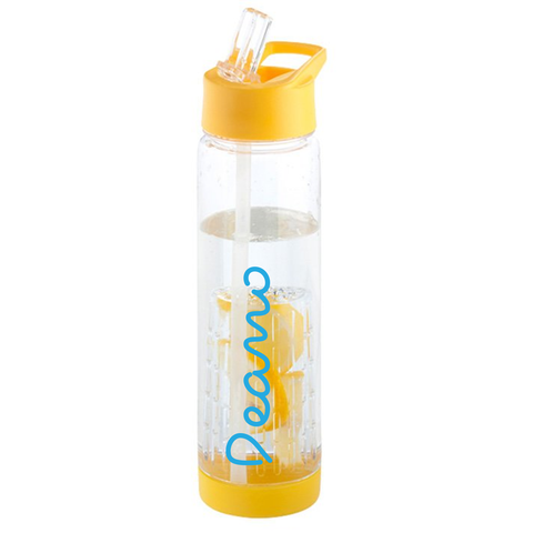 Personalised Fruit Infuser Water Bottle - Yellow/Clear
