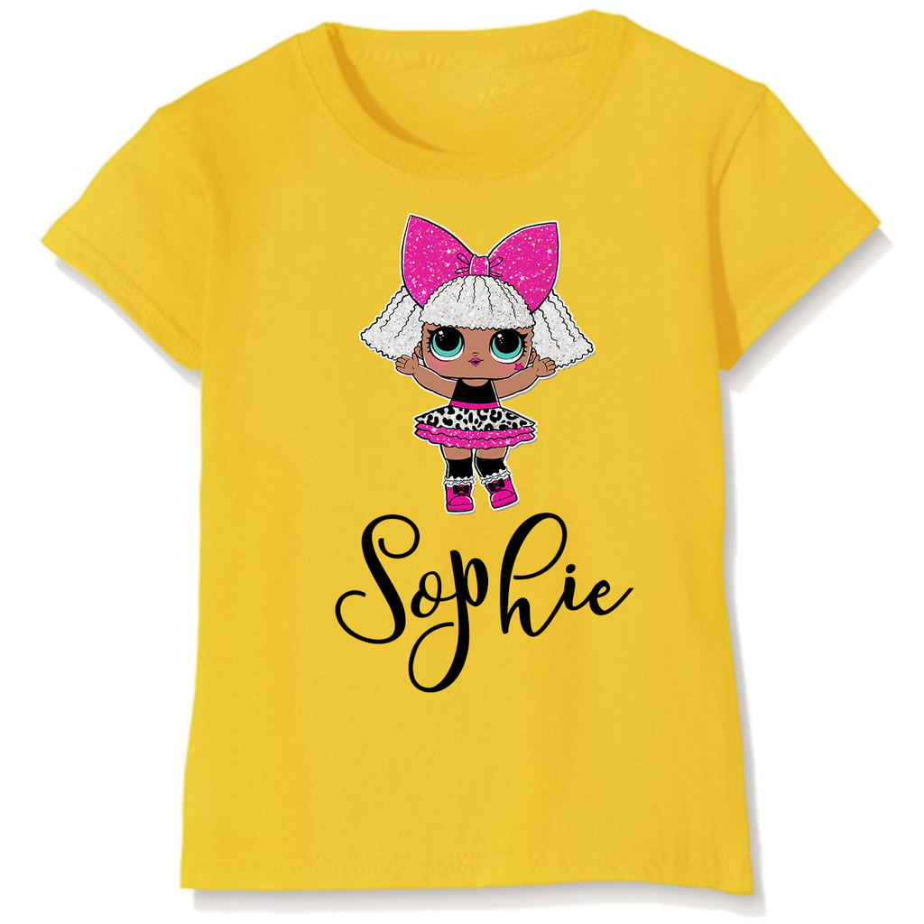 Personalised Diva Glitter Surprise Doll Design T-Shirt Top