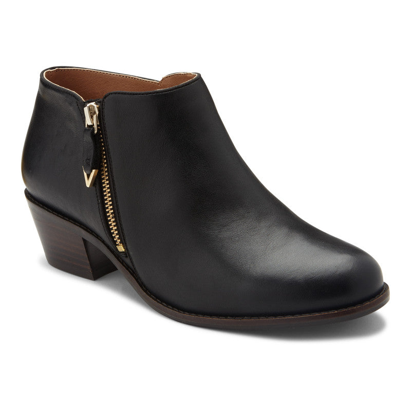 JOLENE - BLACK LOW HEEL ANKLE BOOT