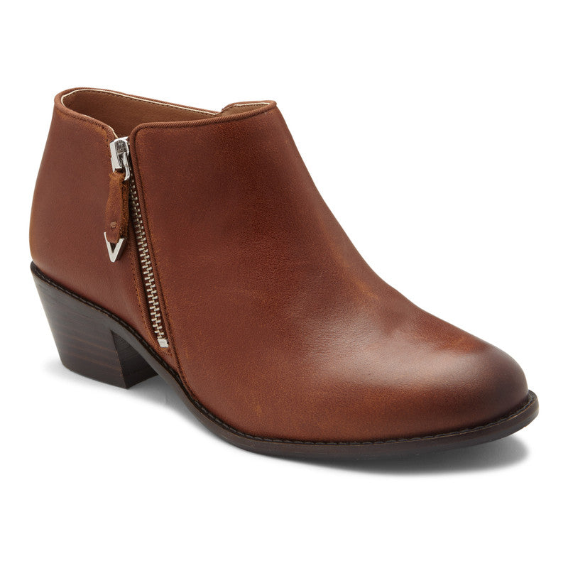 JOLENE - MOCHA LOW HEEL ANKLE BOOT