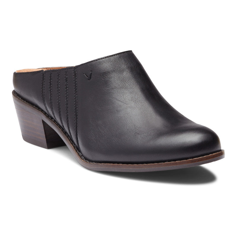 NELLIE BLACK LEATHER MULE