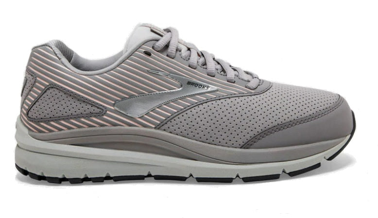 Brooks Addiction suede walking shoe - light grey with peach stripes