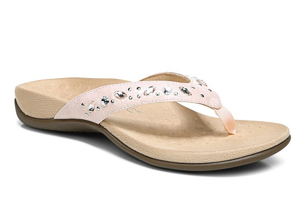 womens pink snake flip flop with rhinestones