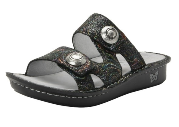 Adjustable sandal - black with metallic colorings