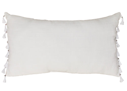 White Lumbar Pillow with Tassle