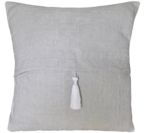Grey Pillow Cover with White Tassle