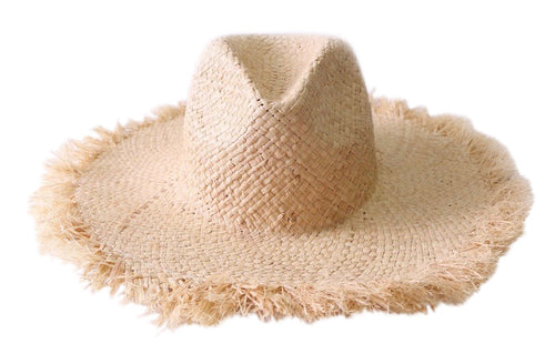 SOLD OUT Wide Brim Frayed Straw Hat