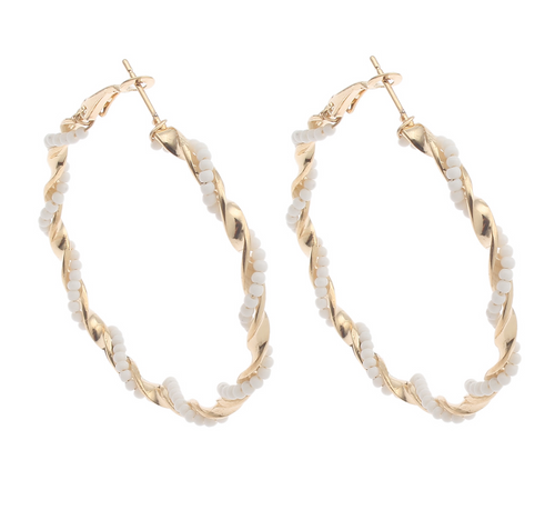 Gold Hoop Earrings with White Beading
