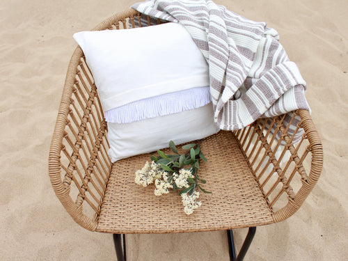 White Fringe Pillow Cover