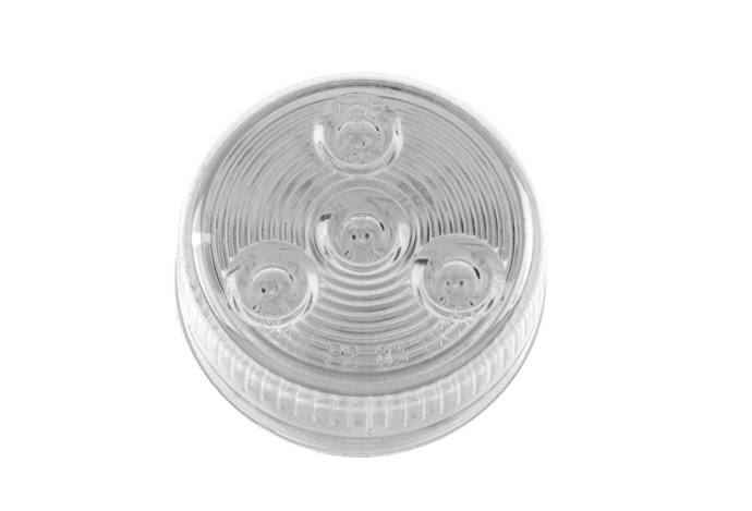 Sealed 2'' Round LED Clearance/Side Marker Light- Clear/ Red