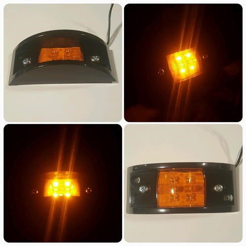 Amber 24V Military Spec Marker Light with Black Bezel