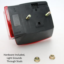 "Red Incandescent Square Box Light Under 80"" Combination Stop/Turn/Tail Light, Curb Side"