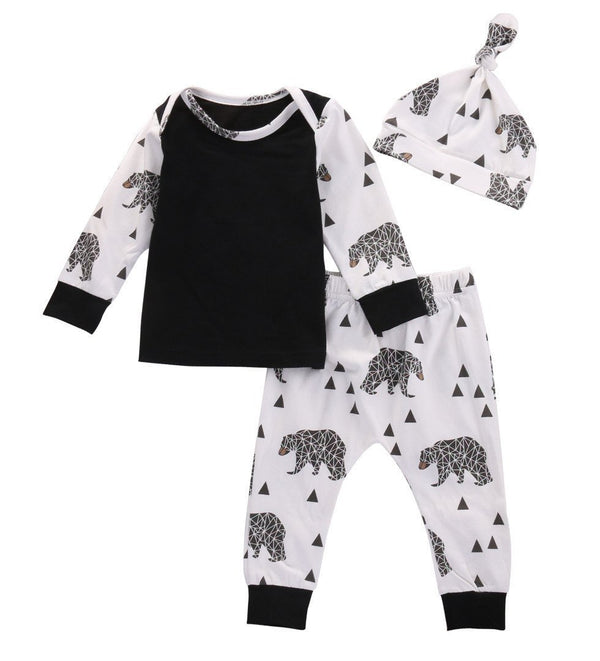 3 Piece Baby Bear Outfit, Black and White - momma.shop