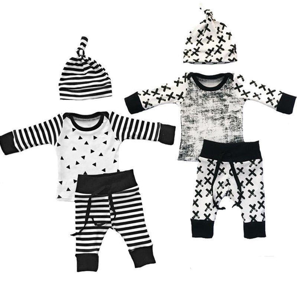 3 Piece Baby Boy Hipster Outfit with Knot Hat, Black and White, 2 Styles - momma.shop