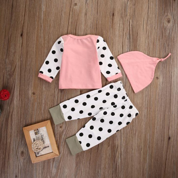 3 Piece Baby Girl Outfit Set with Knot Hat, Pink with Polka Dots - momma.shop