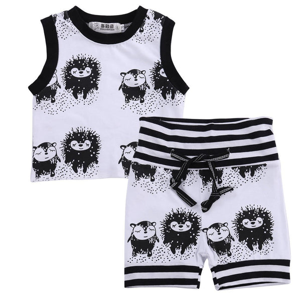 Baby and Toddler Boy Animal Black and White Tank and Short Set - momma.shop