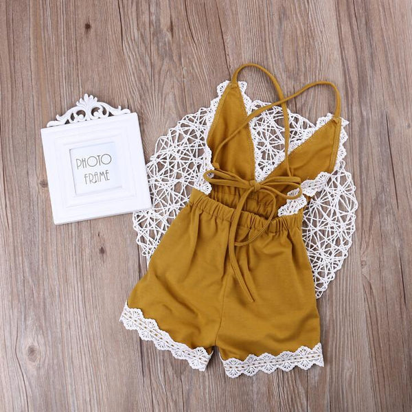 Baby Toddler Girl Lace Elastic Waist Tank and Shorts Romper, Yellow - momma.shop