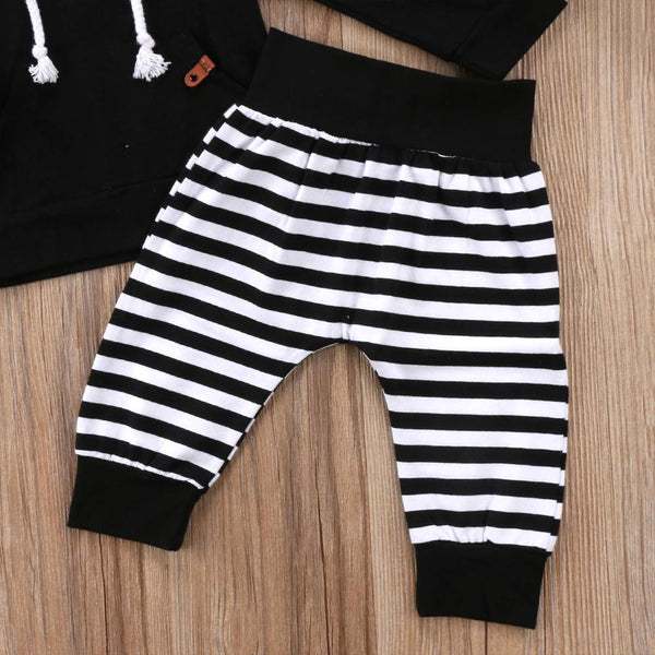 Black and White Striped Hooded Track Suit with Ears - momma.shop