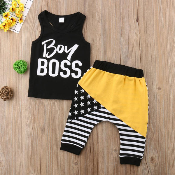 Boy Boss Outfit, Racer Tank and Harem Pants - momma.shop