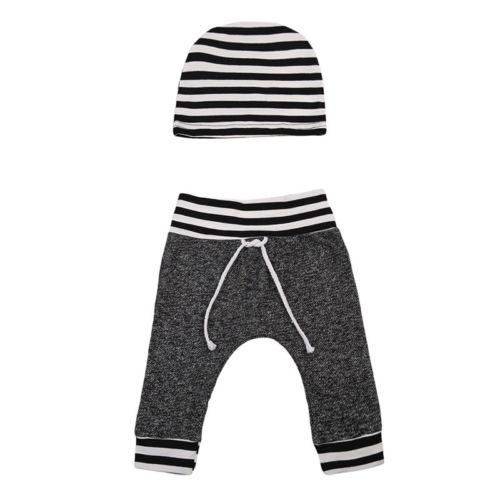 Gray and Stripe Pants and Beanie Hat - momma.shop