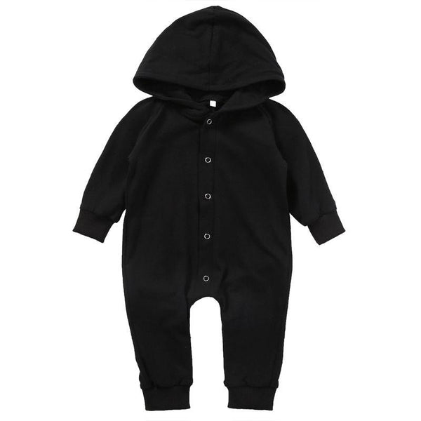 Hooded Black Snap Romper - momma.shop