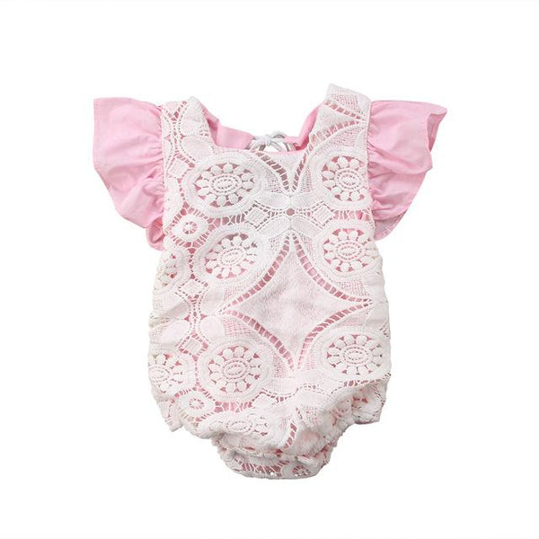 Pink and Ivory Lace Romper - momma.shop