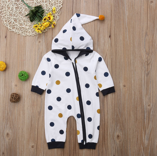 Polka Dot Hooded Zip Up Outfit, 2 Colors - momma.shop