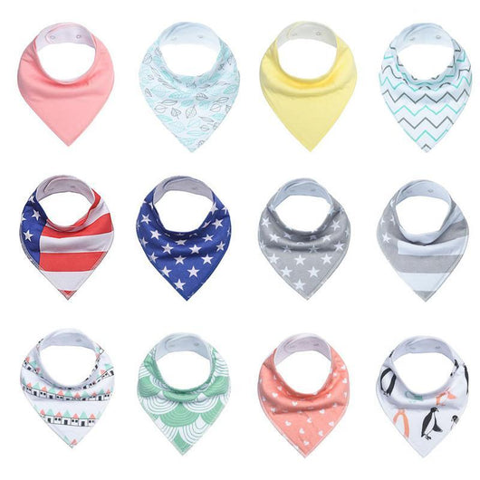 4 Pack Infant and Toddler Baby Bibs, 100% Cotton with Adjustable Snaps,  100% Cotton