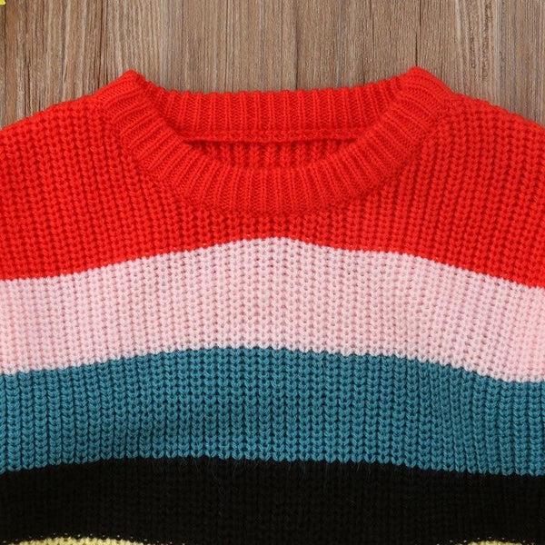 Rainbow Colorful Knit Sweater - momma.shop