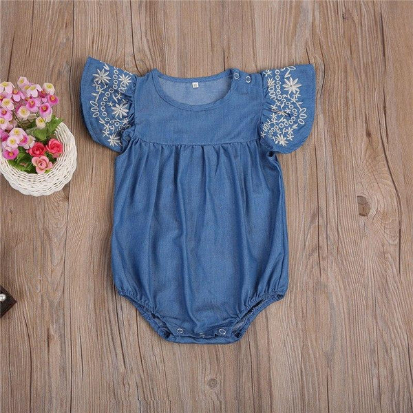 Soft Denim and Floral Romper - momma.shop