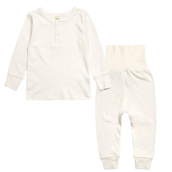 Toddler Solid Colors Unisex Long Sleeve Long Pant Buttoned 2 Piece Set - momma.shop
