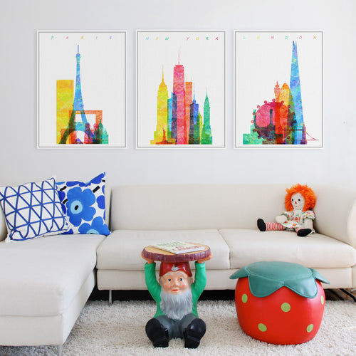 Watercolor World City Posters | London |  New York | Paris