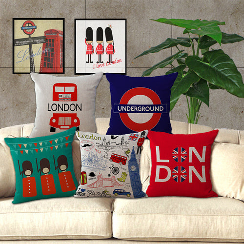 London Themed Decorative Pillows
