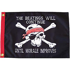 Beatings Will Continue 12x18 Grommet Flag