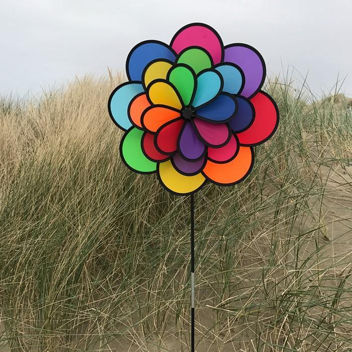 Triple Wheel 24 Petal Flower Wind Spinner - Kitty Hawk Kites Online Store