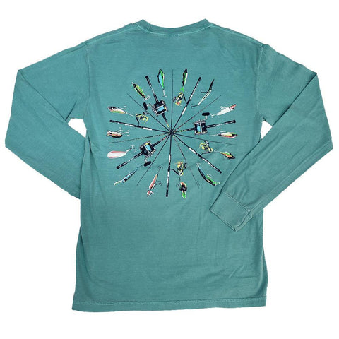 Outer Banks Fishing Pole Wheel Long Sleeve T-Shirt