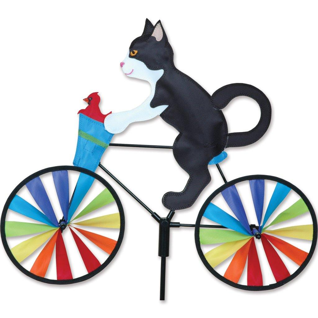Tuxedo Cat On Bike 20 Inch Wind Spinner