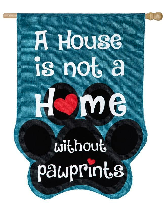 Paw Prints Burlap House Flag