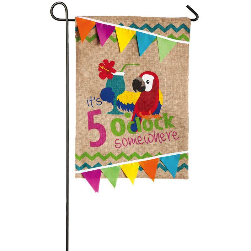 It's 5 o'clock Somewhere Burlap Garden Flag