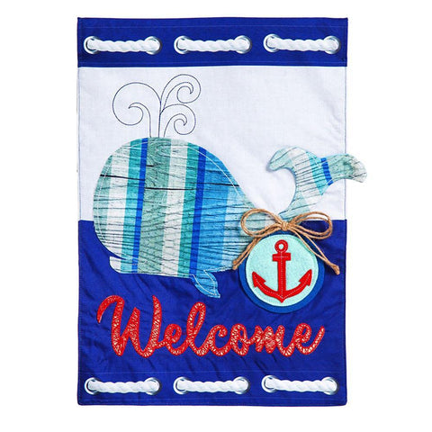 Whale Welcome Garden Flag