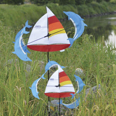 Sailboat & Dolphins 13 Inch Whirligig Wind Spinner - Kitty Hawk Kites Online Store